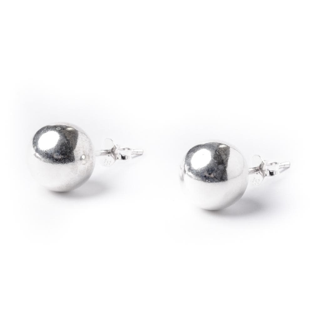 Sterling Silver Simple Ball 9 mm Bead Round Stud Earrings
