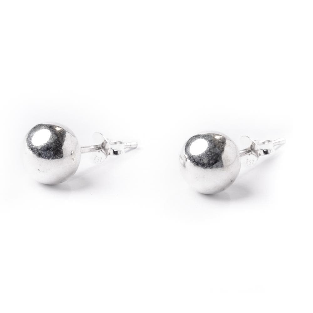 Sterling Silver Simple Ball 7 mm Bead Round Stud Earrings