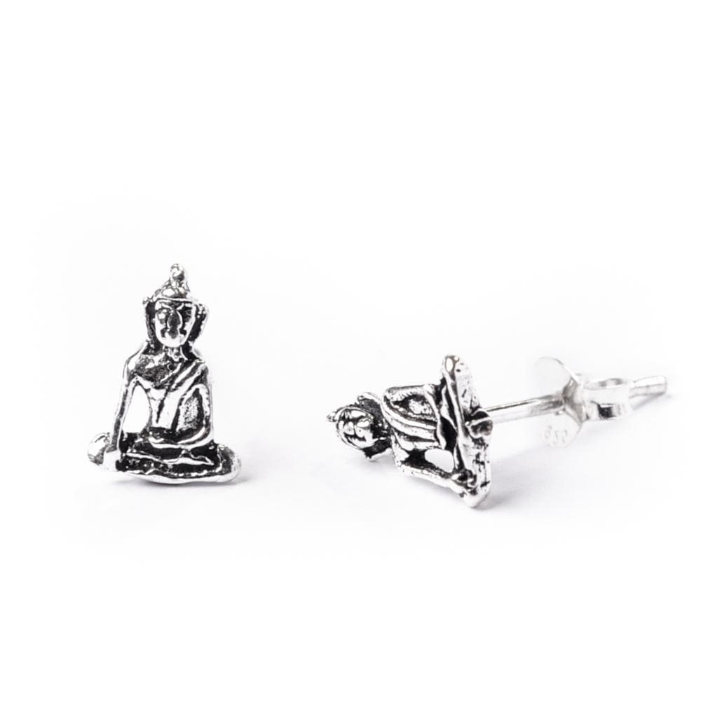 Sterling Silver Buddha Buddhist Meditation Stud Earrings