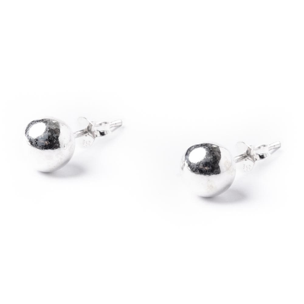 Sterling Silver Simple Ball 5 mm Bead Round Stud Earrings