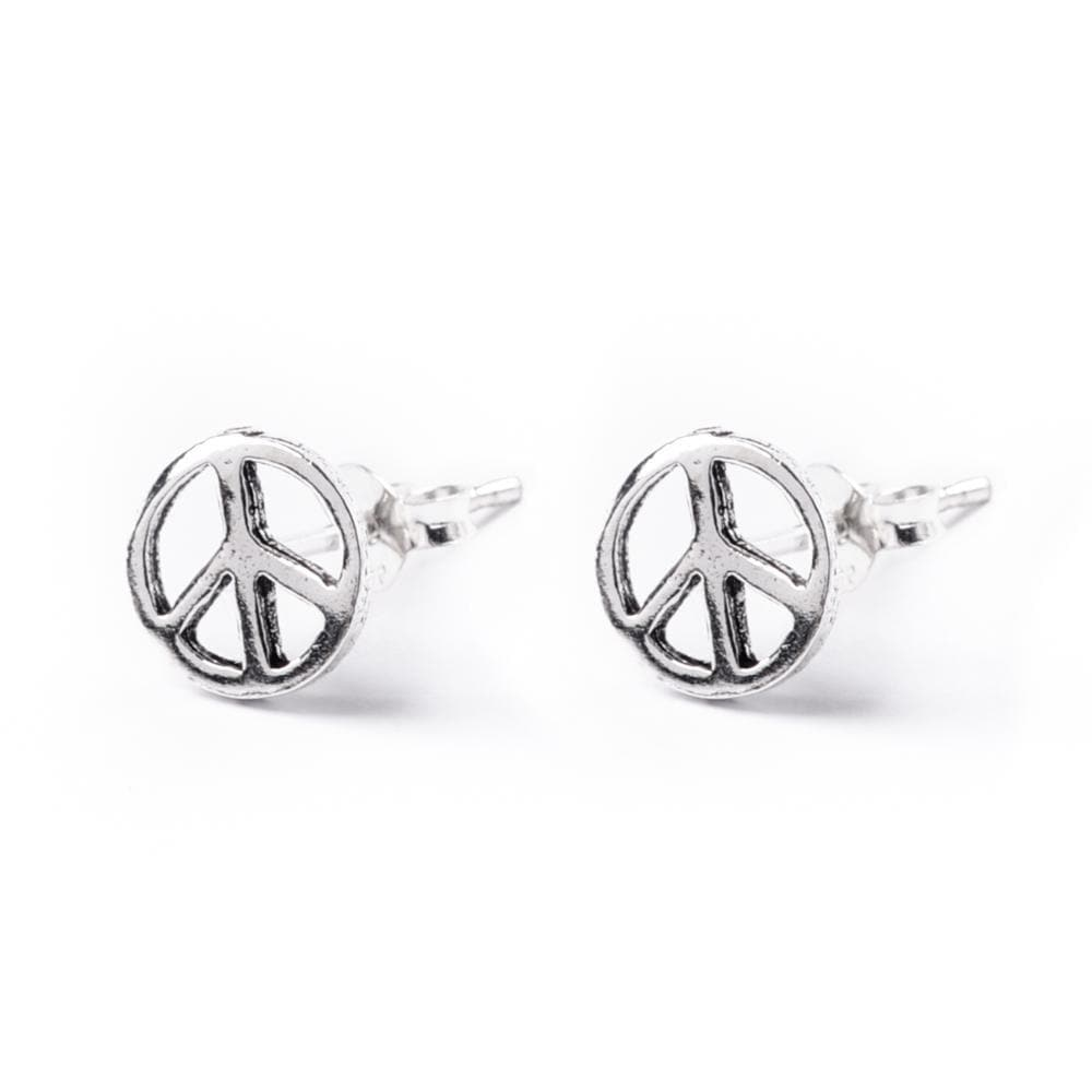 Sterling Silver Peace Sign Round Stud Earrings