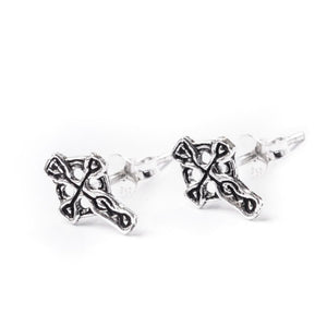 Sterling Silver Celtic Cross Small Stud Earrings