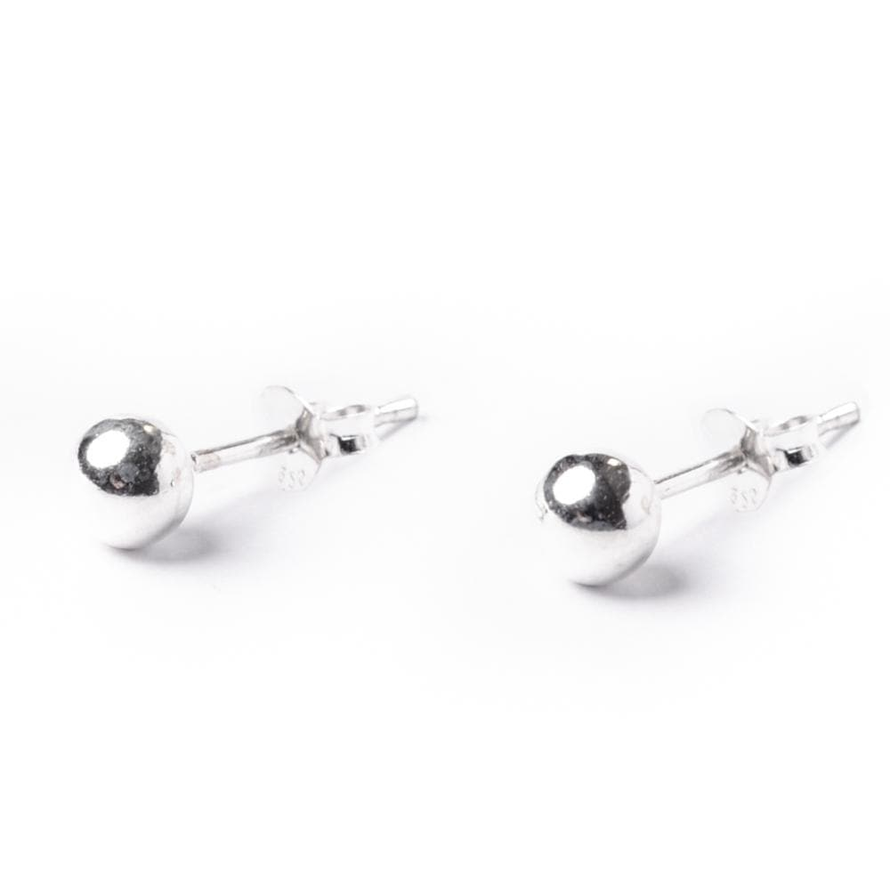 Sterling Silver Simple Ball 4 mm Bead Round Stud Earrings