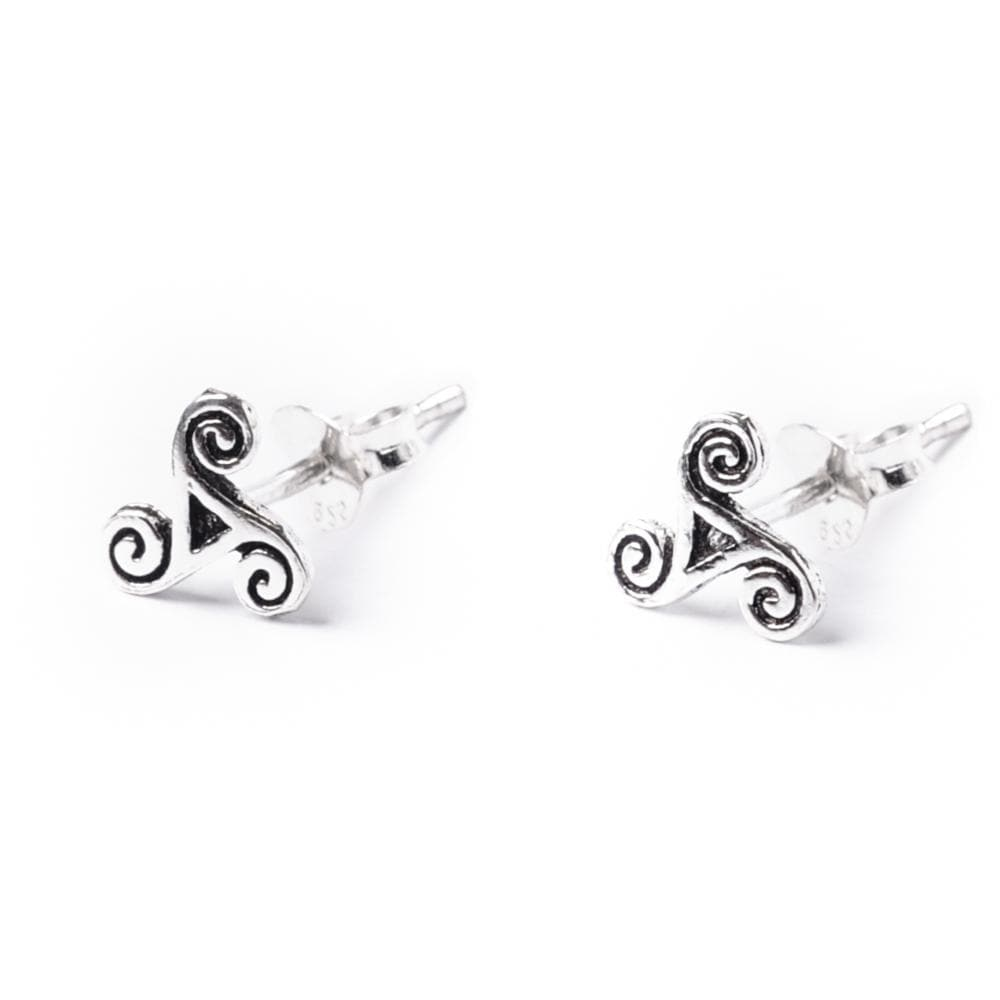 Load image into Gallery viewer, Sterling Silver Celtic Trinity Spiral Stud Earrings - 81stgeneration