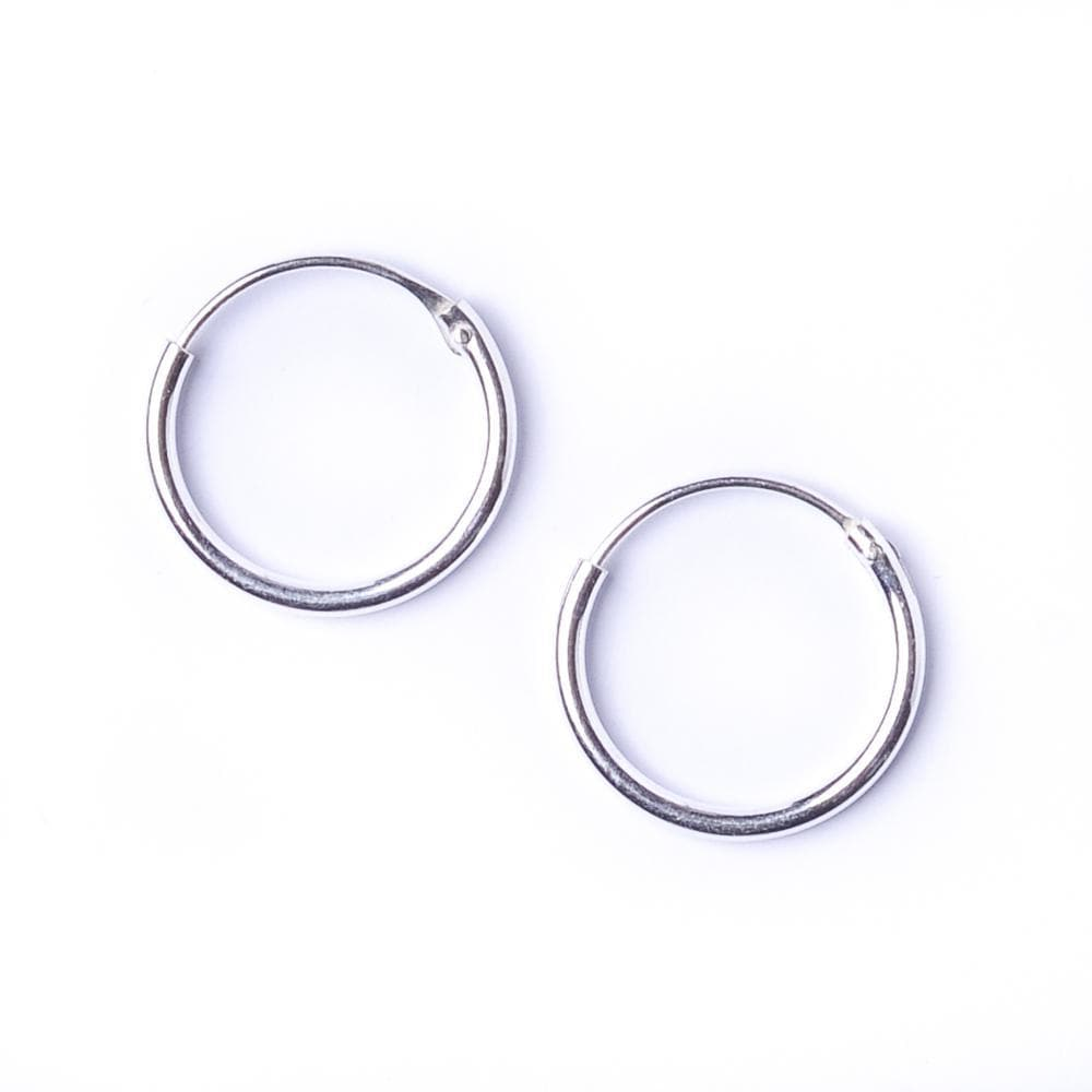 Sterling Silver Round 1.2mm 12 mm Tiny Hoop Earrings - 81stgeneration