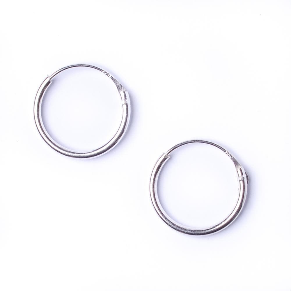 Load image into Gallery viewer, Sterling Silver Round 1.2mm 14 mm Hoop Earrings - 81stgeneration