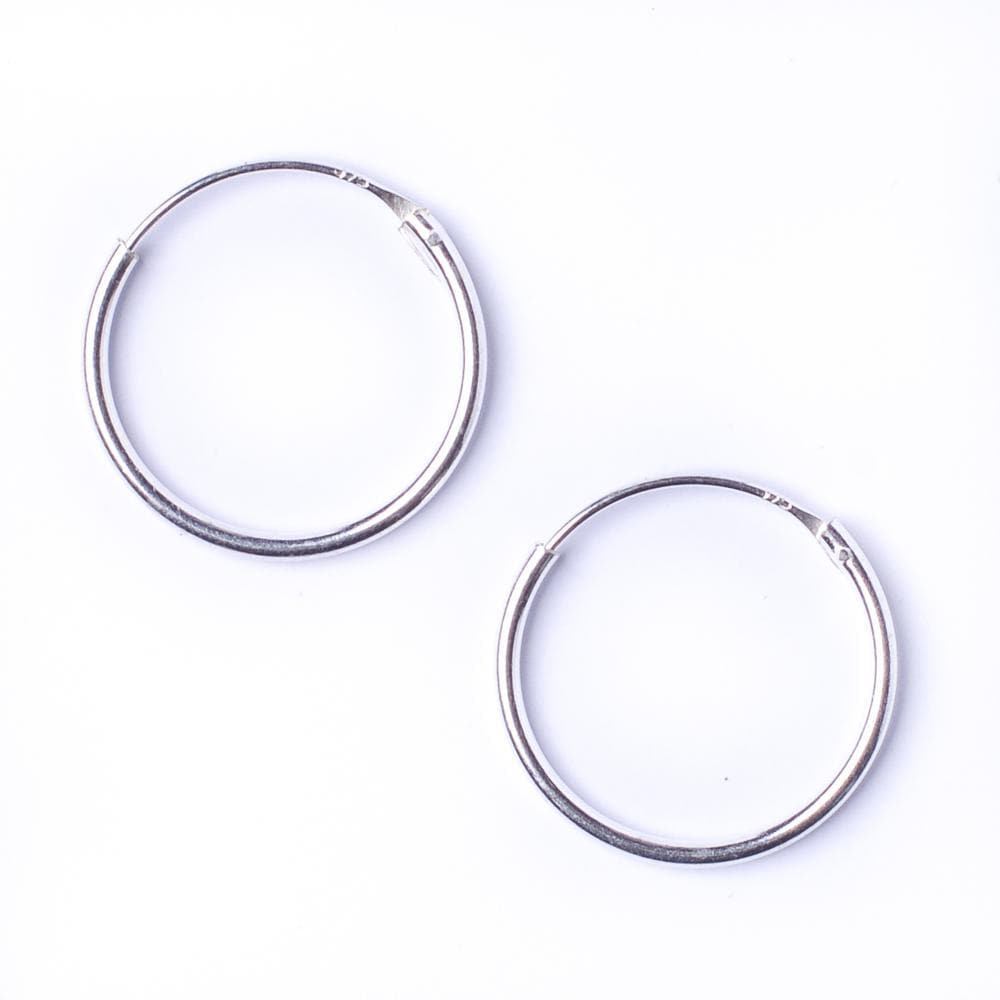 Sterling Silver Round 1.2mm 20 mm Hoop Earrings
