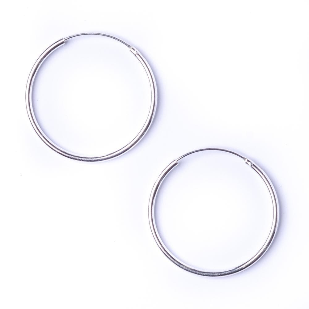 Sterling Silver Round 1.2mm 25mm Hoop Earrings