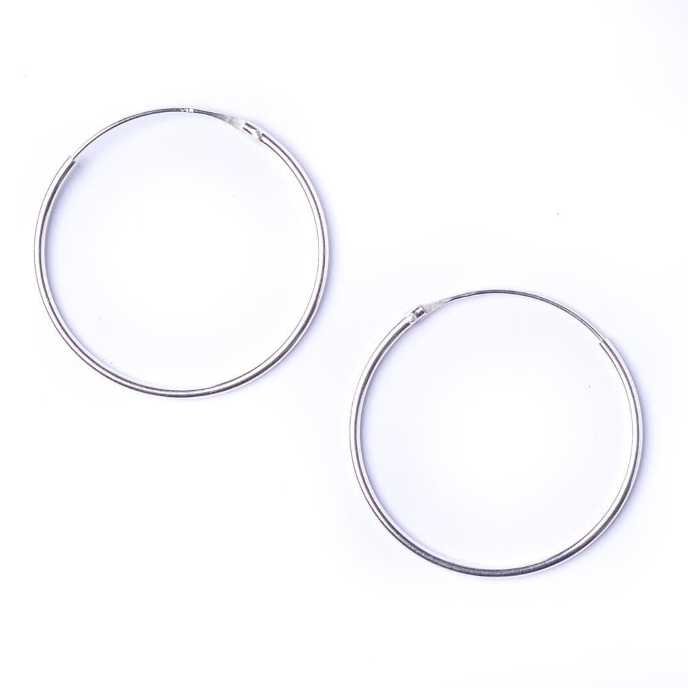 Sterling Silver Round 1.2mm 30 mm Hoop Earrings