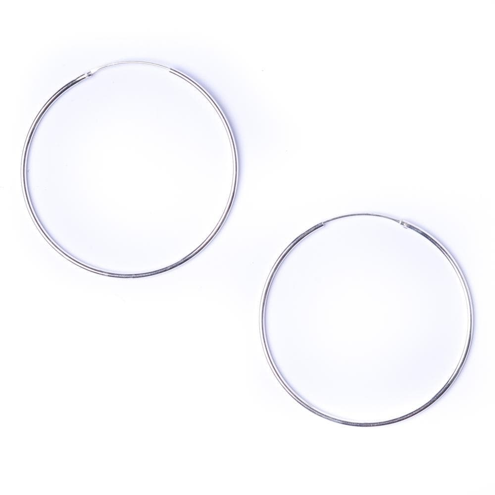 Load image into Gallery viewer, Sterling Silver Round 1.2mm 50mm Hoop Earrings