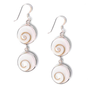 Load image into Gallery viewer, Sterling Silver White Shiva Eye Spiral Shell Earrings