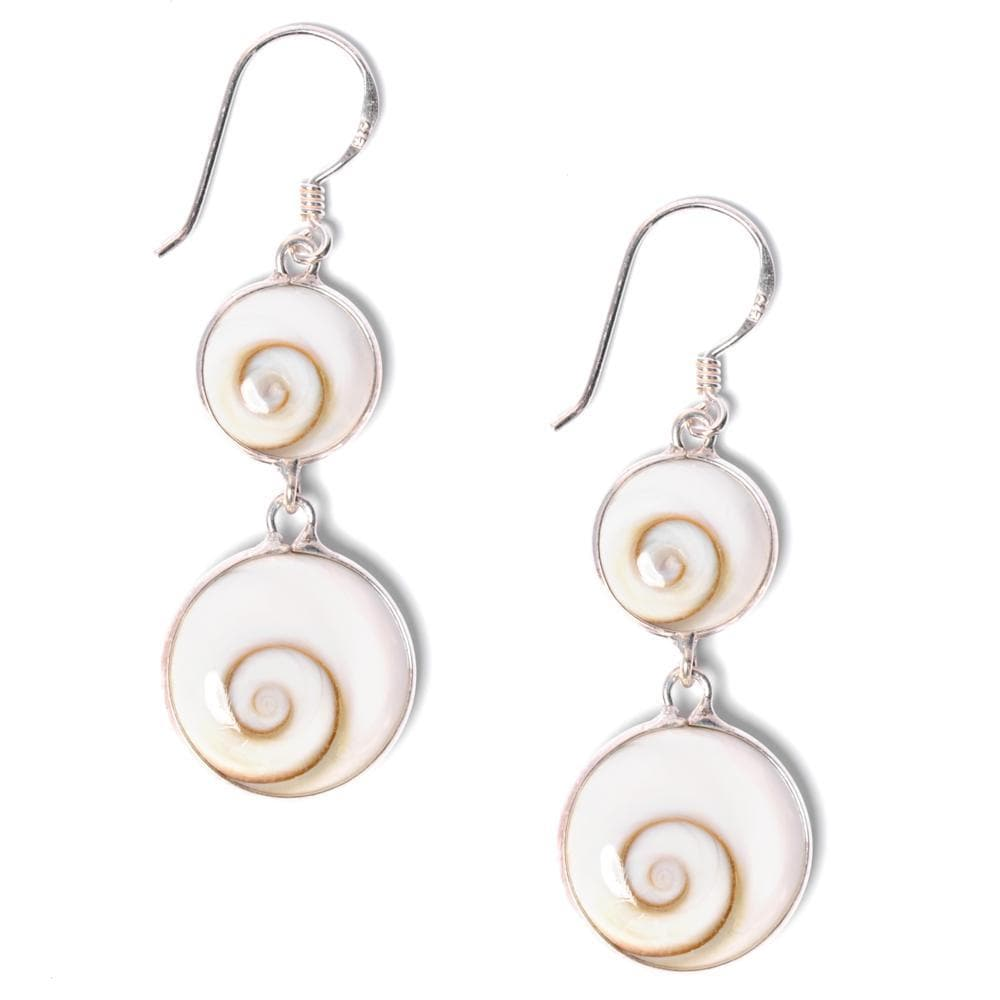 Load image into Gallery viewer, Sterling Silver Double Shiva Eye Spiral Shell Earrings