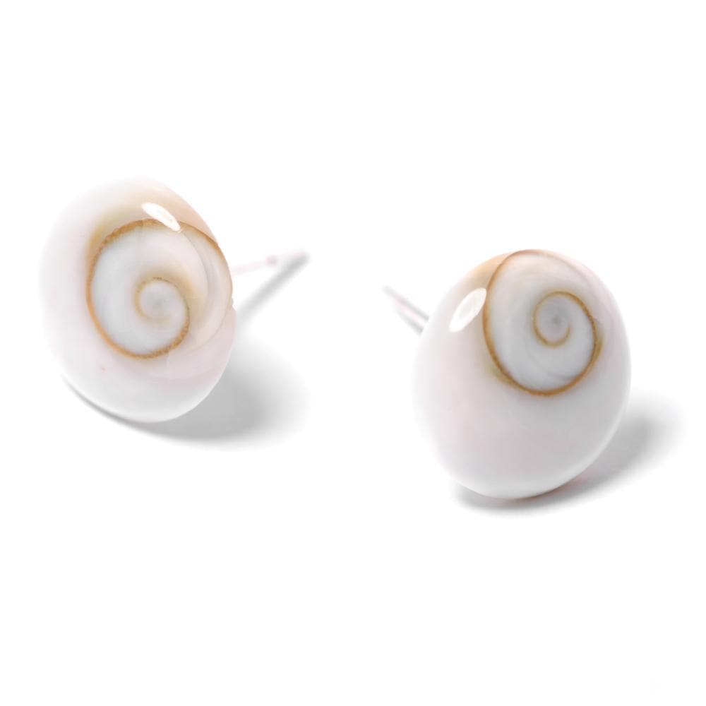 Sterling Silver Shiva Eye Spiral Shell Stud Earrings