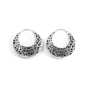Sterling Silver Creole Filigree Hoop Earrings - 81stgeneration
