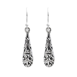 Sterling Silver Filigree Balinese Drop Earrings