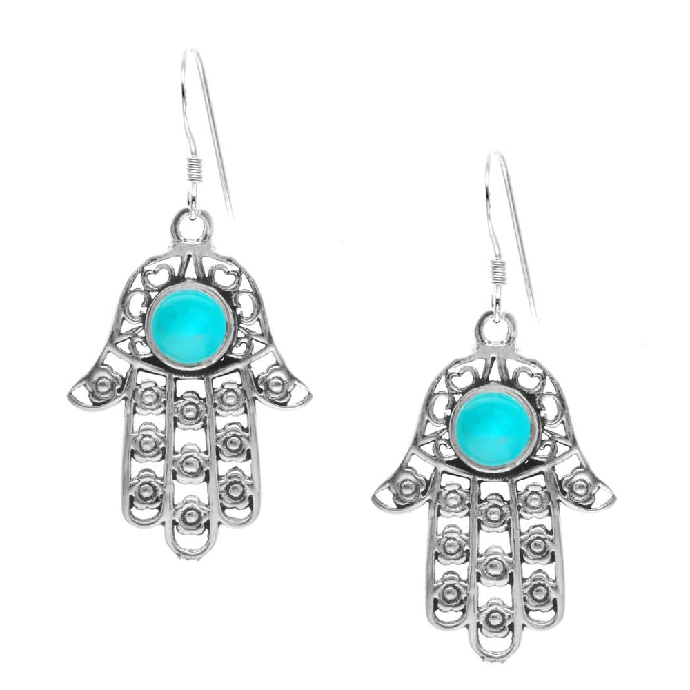 Load image into Gallery viewer, Sterling Silver Simulated Turquoise Hamsa Hand Earrings