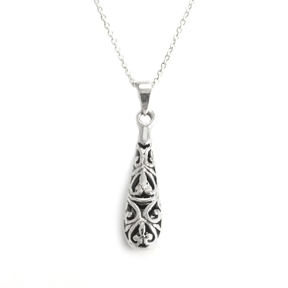 Sterling Silver Teardrop Filigree Necklace