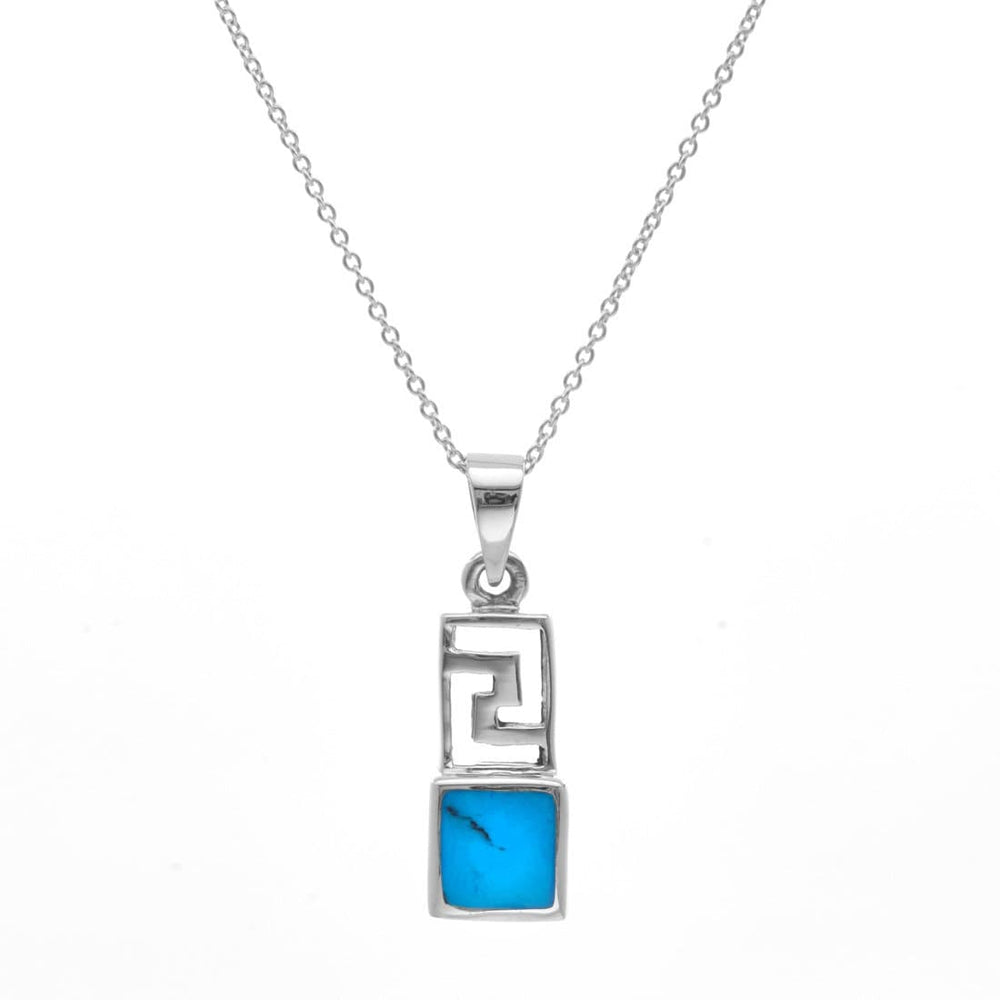 Sterling Silver Simulated Turquoise Aztec Necklace
