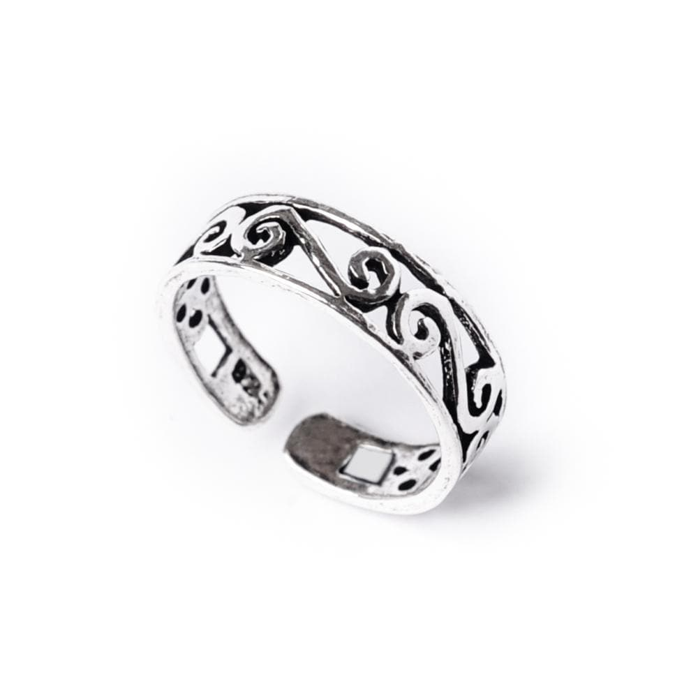 Sterling Silver Midi Finger Swirl Adjustable Toe Ring - 81stgeneration