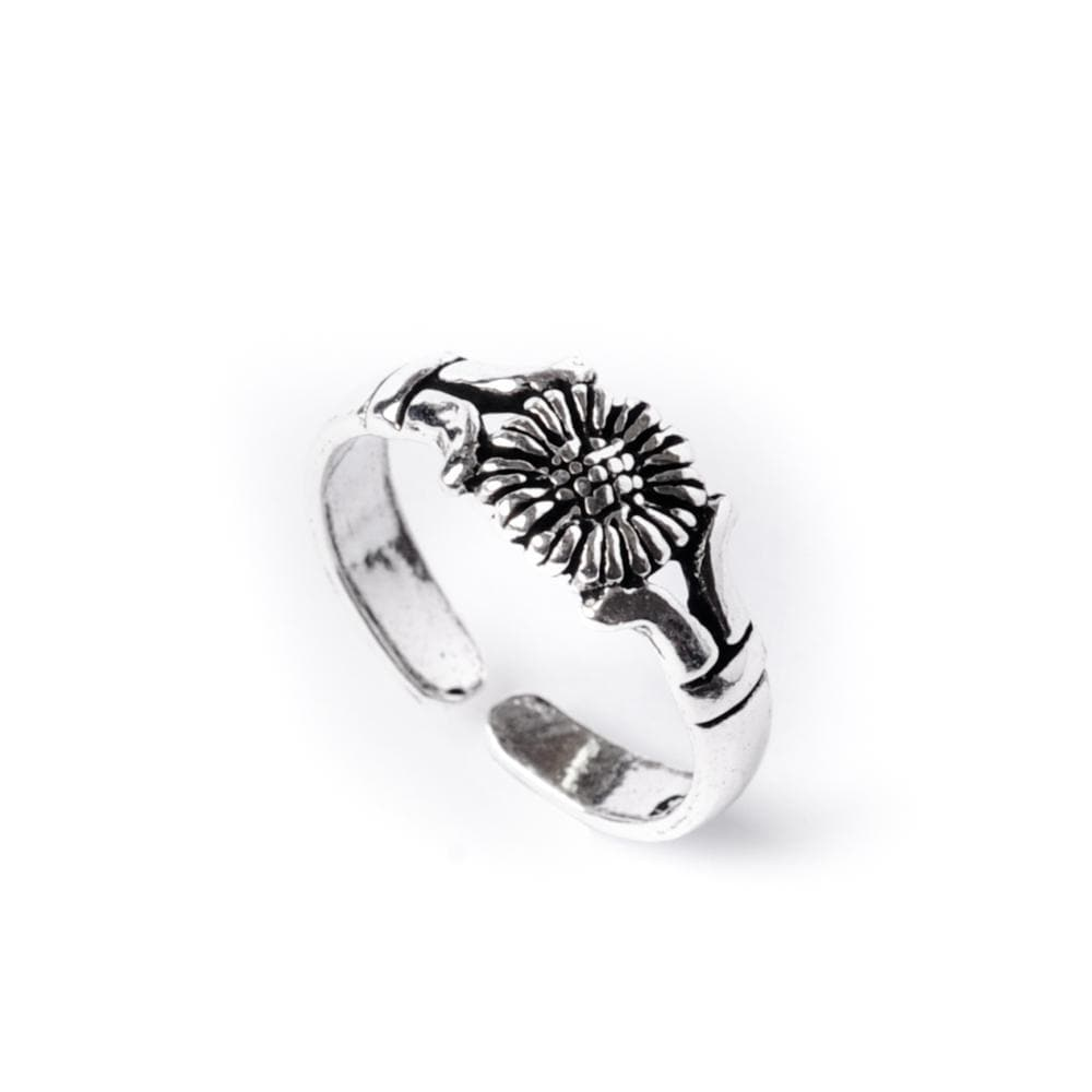 Load image into Gallery viewer, Sterling Silver Sunflower Midi Finger Adjustable Toe Ring - 81stgeneration