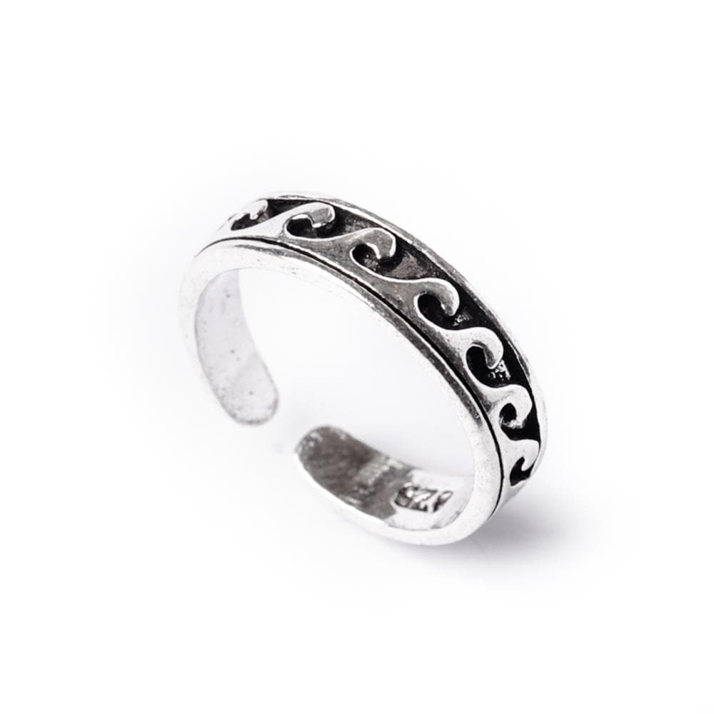 Sterling Silver Midi Finger Wave Adjustable Toe Ring - 81stgeneration