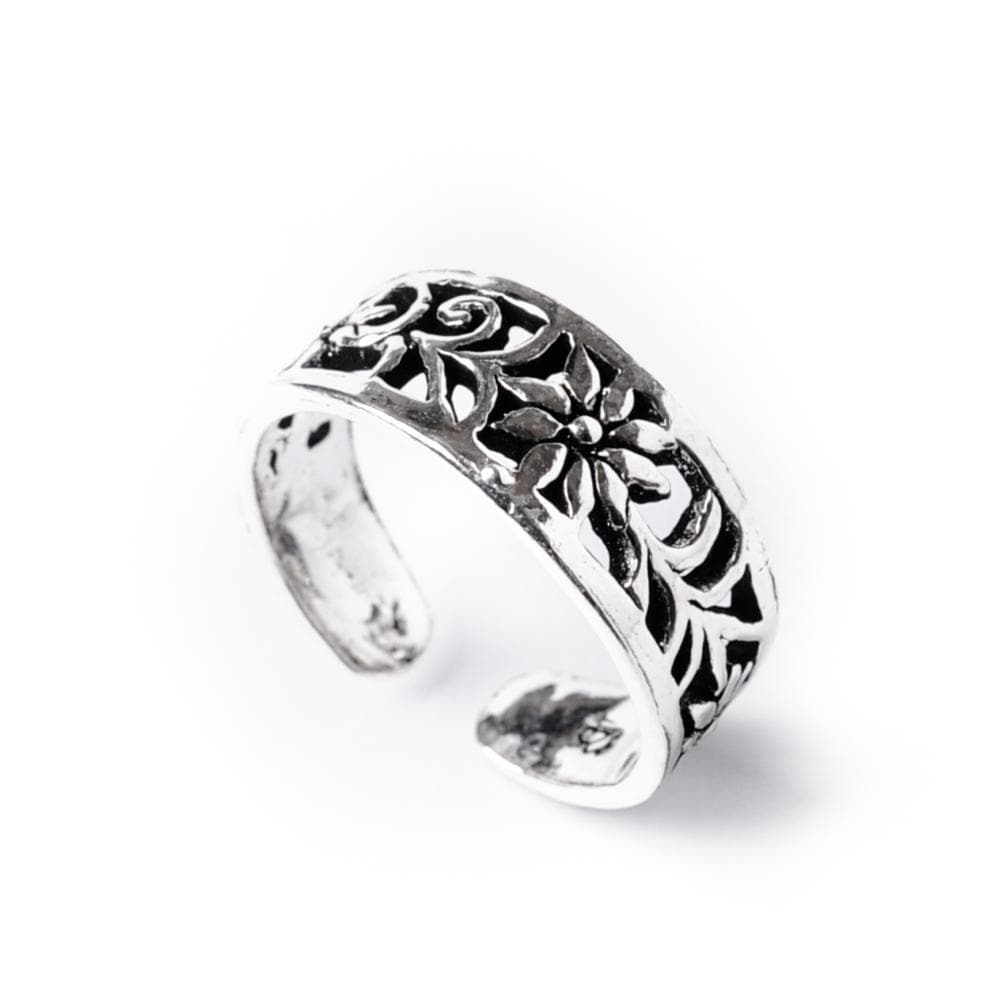 Sterling Silver Midi Finger Flower Adjustable Toe Ring - 81stgeneration