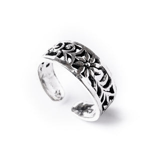 Sterling Silver Midi Finger Flower Adjustable Toe Ring
