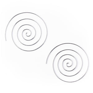 Load image into Gallery viewer, Sterling Silver Spiral 40 mm Spiral 18 Gauge Tribal Earrings