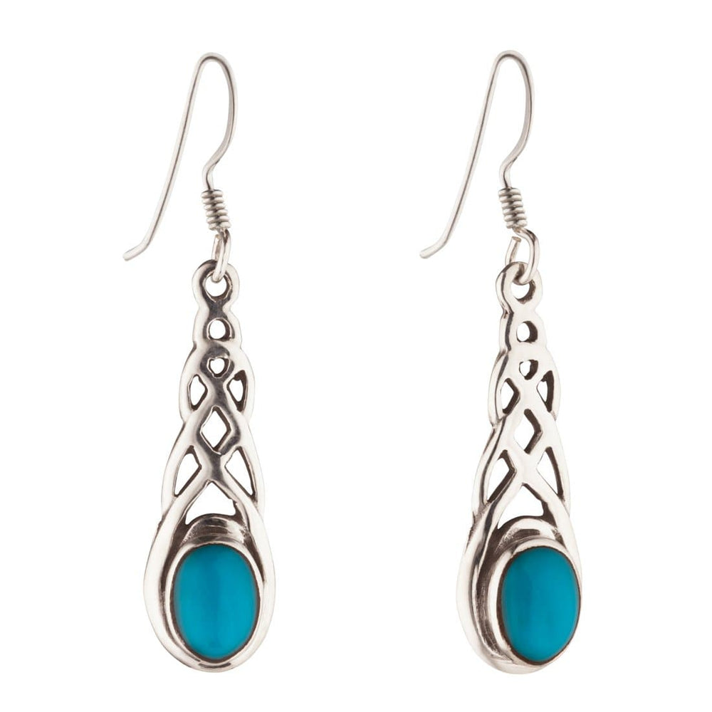 Sterling Silver Celtic Turquoise Earrings - 81stgeneration