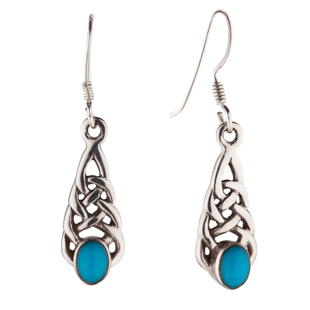 Sterling Silver Small Celtic Turquoise Earrings - 81stgeneration