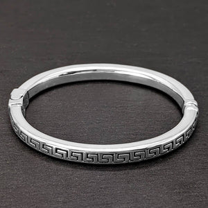 Load image into Gallery viewer, Sterling Silver Greek Key Hinged Bangle Cuff Bracelet