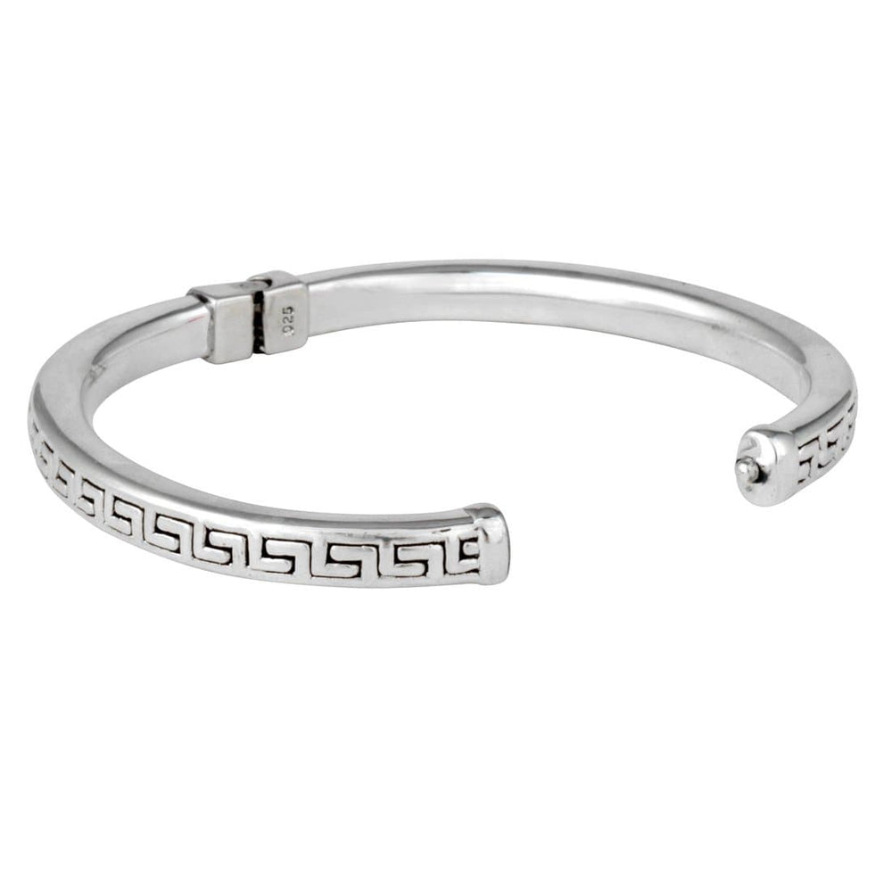 Sterling Silver Greek Key Hinged Bangle Cuff Bracelet