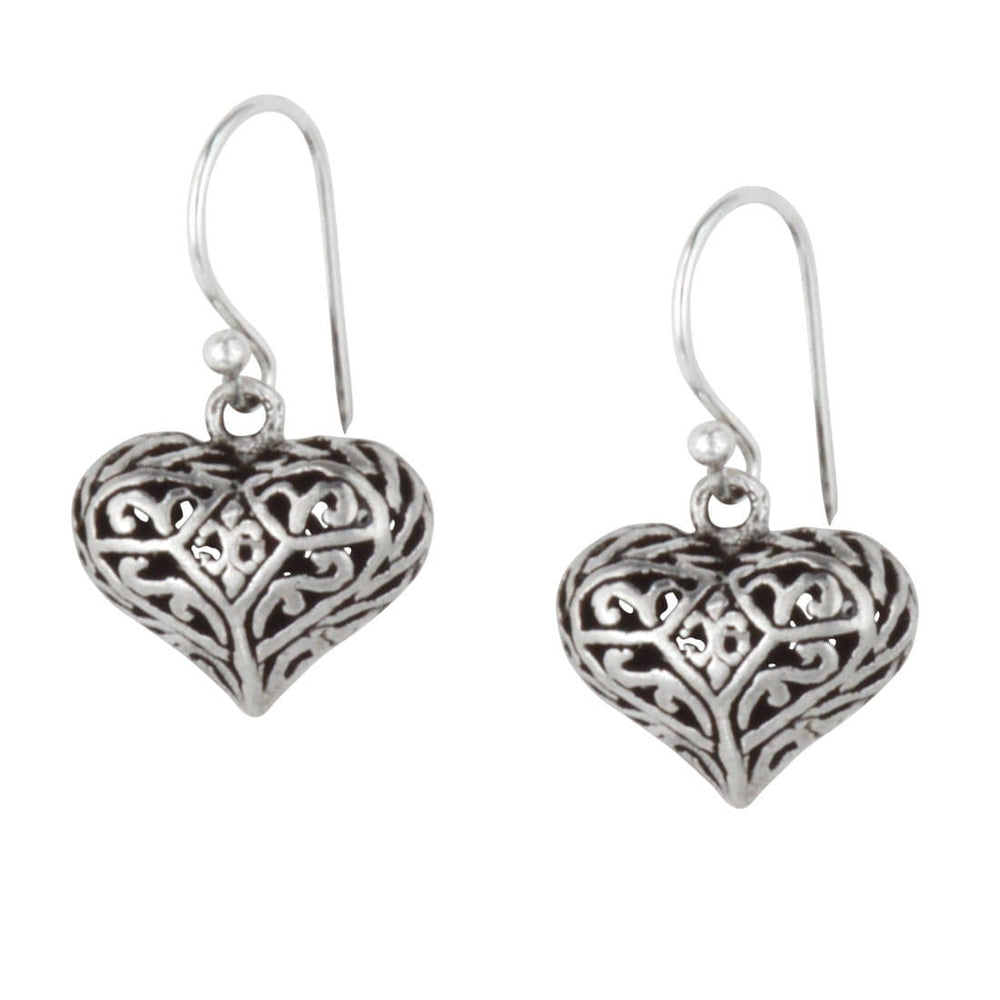 Load image into Gallery viewer, Sterling Silver Filigree Hollow Heart Dangle Earrings