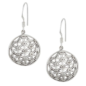 Load image into Gallery viewer, Sterling Silver Flower Of Life Simple Dangle Earrings