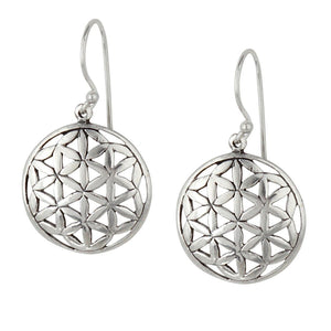 Sterling Silver Flower Of Life Round Dangle Earrings