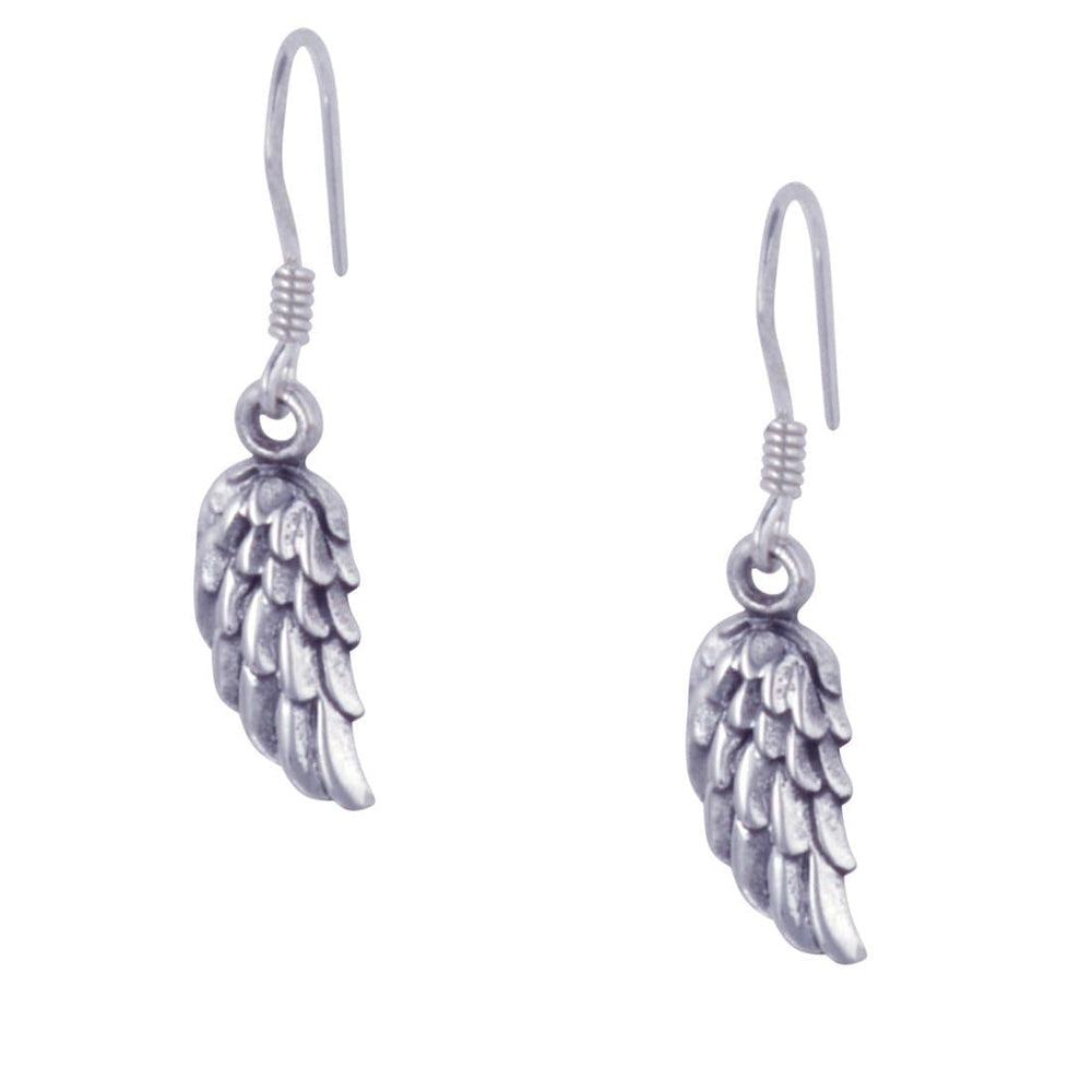 Load image into Gallery viewer, Sterling Silver Angel Wings Feather Dangle Earrings
