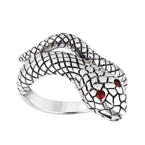 Sterling Silver Snake Red Eye Serpent Wrap Ring