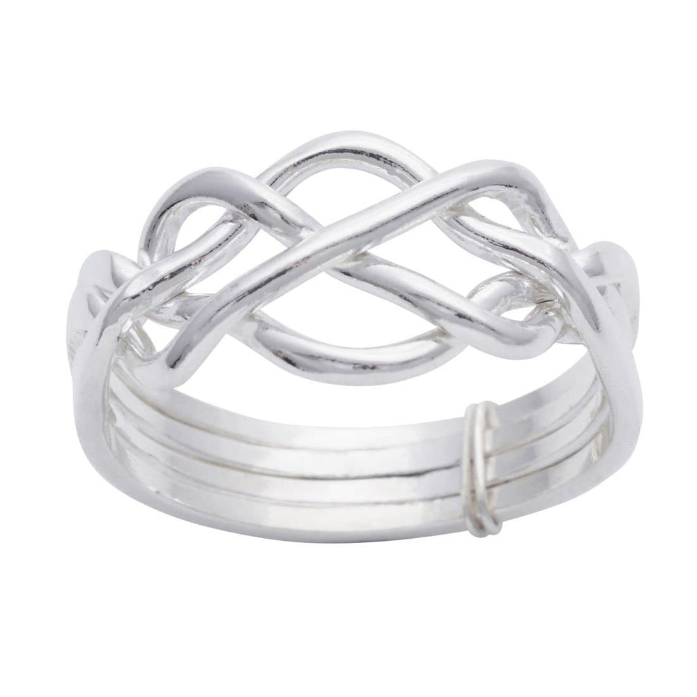 Sterling Silver Celtic Knot 4 Band Puzzle Ring