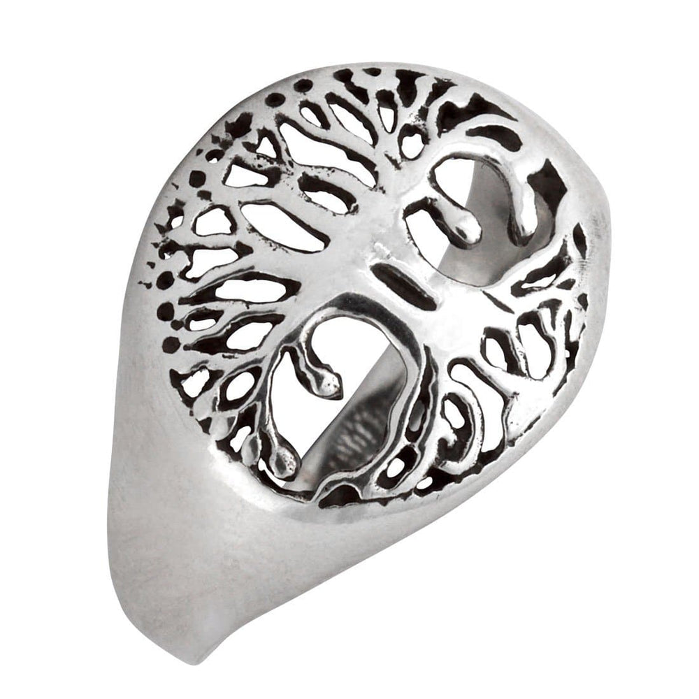 Sterling Silver Tree of Life Round Signet Style Ring
