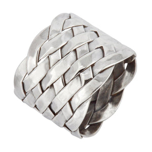 Sterling Silver Entwine Plaited Woven Pattern Ring
