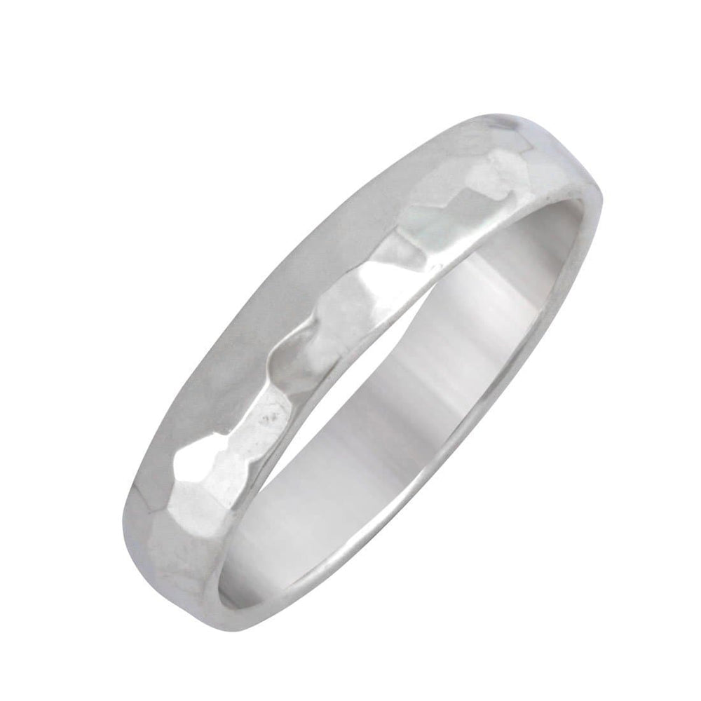 Sterling Silver Hammered Simple Straight Band Ring
