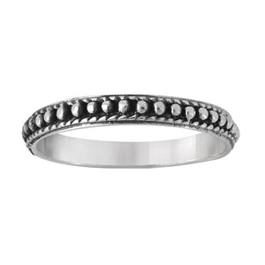 Sterling Silver Bead Studded Thin Band Ring