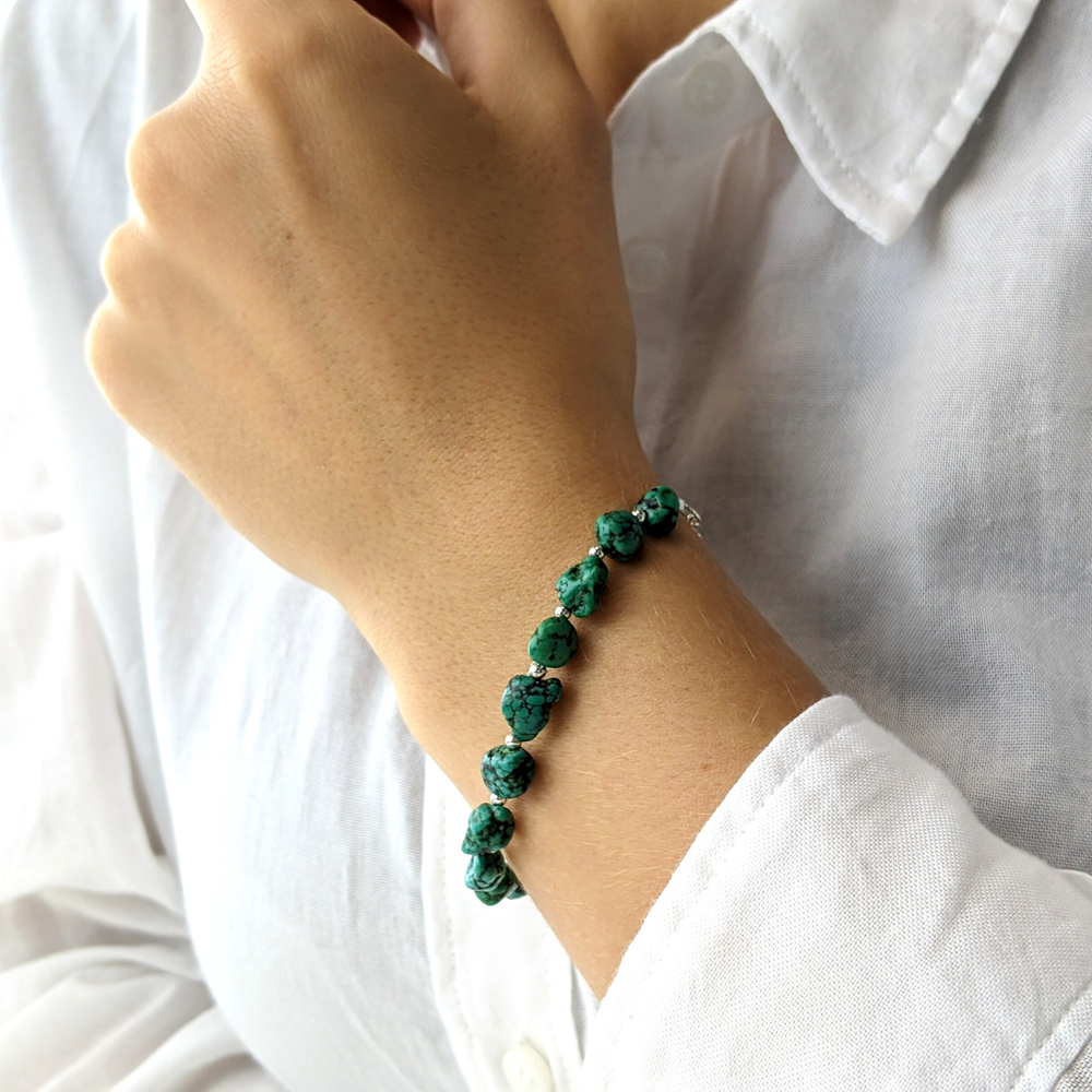 Load image into Gallery viewer, Sterling Silver Green Turquoise Gemstone Bead Bracelet