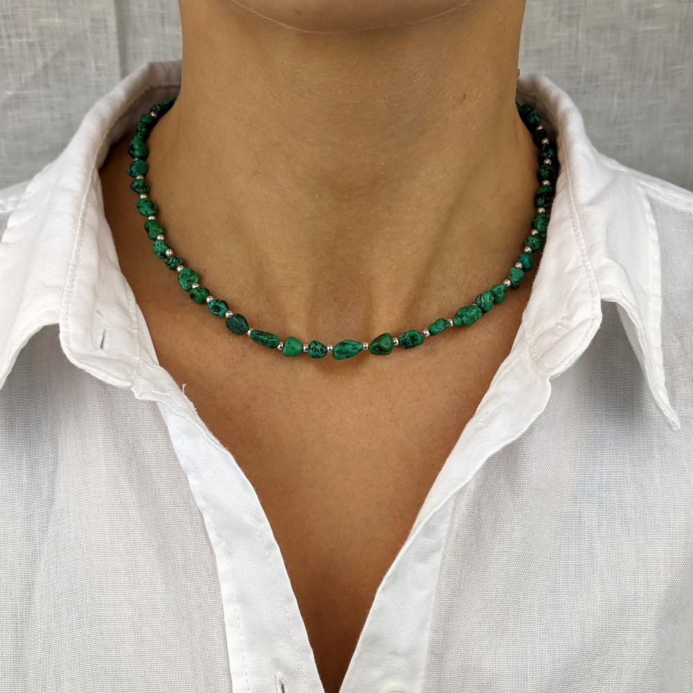 Sterling Silver Green Turquoise Gemstone Bead Necklace