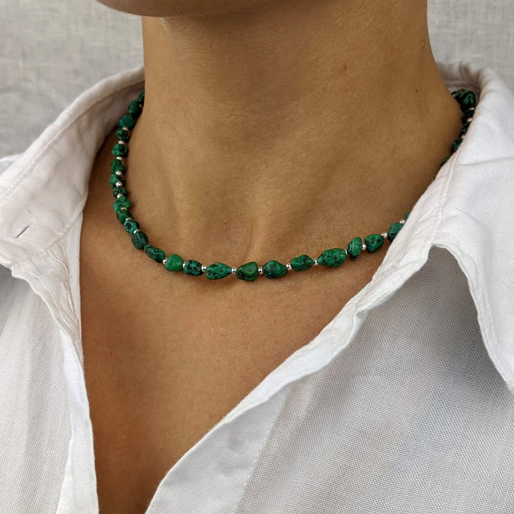 Load image into Gallery viewer, Sterling Silver Green Turquoise Gemstone Bead Necklace