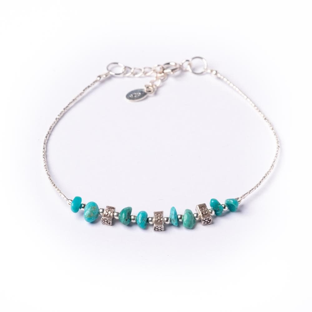 Sterling Silver Green Turquoise Gemstone Bead Chain Bracelet