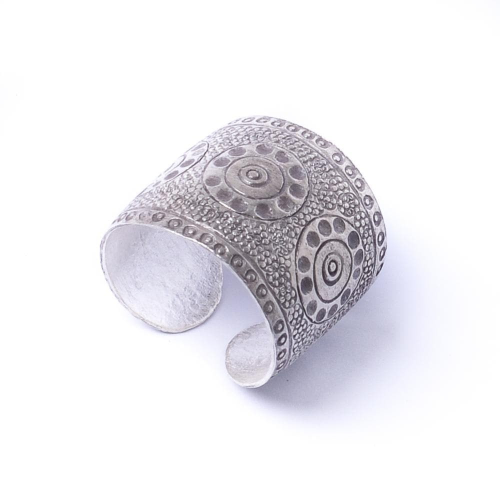 Sterling Silver cuff hammered adjustable ring - 81stgeneration