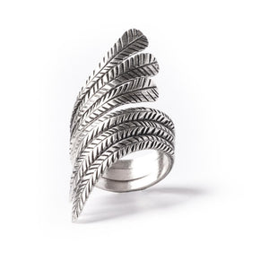 Sterling Silver Feather Leaf Adjustable Ring
