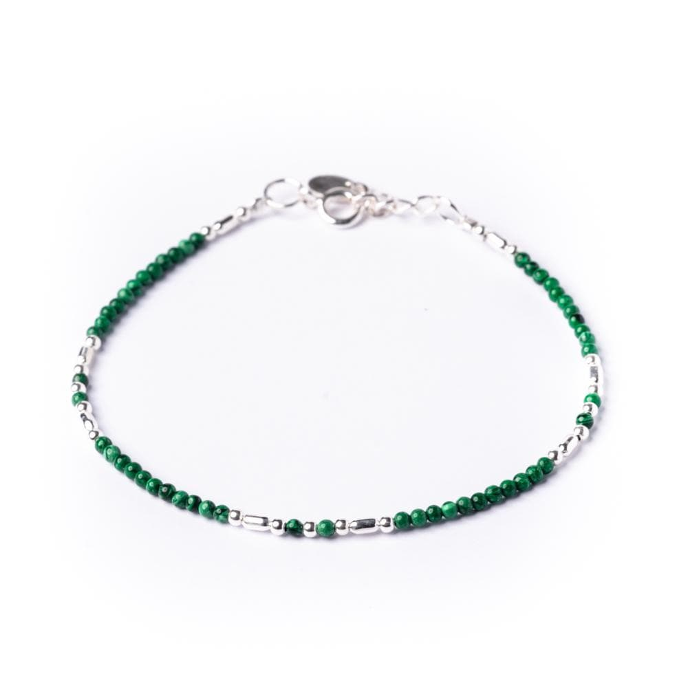 Sterling Silver Green Small Green Malachite Round Bead Bracelet - 81stgeneration