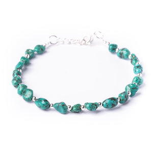 Sterling Silver Green Turquoise Gemstone Bead Bracelet - 81stgeneration